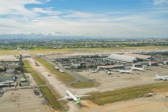 Aerial view of the Interior view of the Taiwan Taoyuan Internati. Taoyuan, JUN 6: Aerial view of the Interior view of the Taiwan Taoyuan International Airport on Stock Images