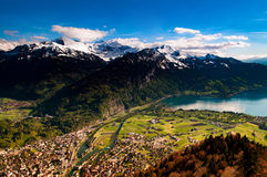 Aerial view of Interlaken and Swiss Alps from Harder Kulm view p Royalty Free Stock Photo