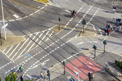 Aerial view of an intersection Royalty Free Stock Photo