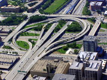 Aerial view of intersection in Chicago city Stock Images