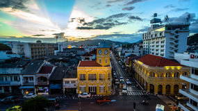 Aerial view intersection in Phuket town Royalty Free Stock Photography
