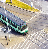 Aerial view of an intersection with tram Stock Images