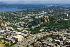 Aerial view of the Interstate 5 expressway in Seattle royalty free stock images