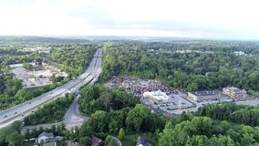 Aerial of Interstate highway 476 Blue Route in Radnor Township, Villanova, Pennsylvania. Aerial view of Interstate highway 476 Blue Route in Radnor Township stock video footage