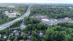 Aerial of Interstate highway 476 Blue Route in Radnor Township, Villanova, Pennsylvania. Aerial view of Interstate highway 476 Blue Route in Radnor Township stock footage