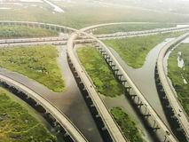 Aerial view of interstate 10 near New orleans Royalty Free Stock Photo