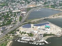 Aerial View of Interstate 93 and the Rainbow Swash, Boston, MA. Aerial View of Interstate 93 and the Rainbow Swash and the Dorchester Bay Basin in Boston, MA Royalty Free Stock Photos