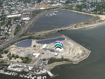Aerial View of Interstate 93 and the Rainbow Swash, Boston, MA. Aerial View of Interstate 93 and the Rainbow Swash and the Dorchester Bay Basin in Boston, MA Stock Photography