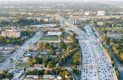 Aerial view of interstate traffic Stock Image
