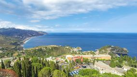 Aerial view of Ionian sea coast, Sicily, Italy. Aerial view of Ionian sea coast near Taormina town, Sicily, Italy. Time Lapse stock video footage