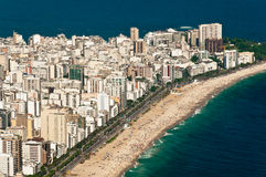 Aerial View of Ipanema and Leblon Beach Royalty Free Stock Image