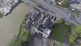 Aerial view of Ireland's most famous public Castle. Bunratty Castle, County Clare, Ireland stock footage