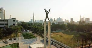 Aerial view of Irian Jaya Liberation Monument stock footage