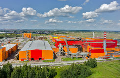 Aerial view on iron and steel works factory Stock Photos