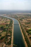 Aerial view irrigation canal in India Stock Photography