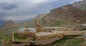Aerial view of Ishak Pasha Palace is a semi-ruined palace and administrative complex located in the Dogubeyazit, Agri. Turkey. Aerial view of Ishak Pasha Palace stock image