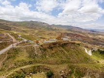 Aerial view of Ishak Pasha Palace is a semi-ruined palace and administrative complex located in the Dogubeyazit, Agri. Turkey. Aerial view of Ishak Pasha Palace royalty free stock image