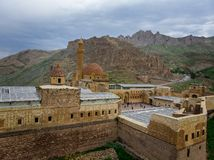 Aerial view of Ishak Pasha Palace is a semi-ruined palace and administrative complex located in the Dogubeyazit, Agri. Turkey. Aerial view of Ishak Pasha Palace royalty free stock photography