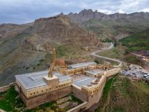 Aerial view of Ishak Pasha Palace is a semi-ruined palace and administrative complex located in the Dogubeyazit, Agri. Turkey. Aerial view of Ishak Pasha Palace stock images