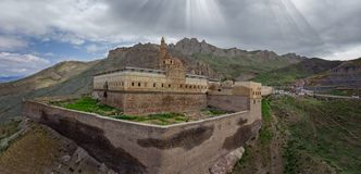 Aerial view of Ishak Pasha Palace is a semi-ruined palace and administrative complex located in the Dogubeyazit, Agri. Turkey. Aerial view of Ishak Pasha Palace royalty free stock images