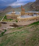 Aerial view of Ishak Pasha Palace is a semi-ruined palace and administrative complex located in the Dogubeyazit, Agri. Turkey. Aerial view of Ishak Pasha Palace royalty free stock photo