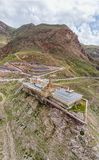Aerial view of Ishak Pasha Palace is a semi-ruined palace and administrative complex located in the Dogubeyazit, Agri. Turkey. Aerial view of Ishak Pasha Palace stock photo