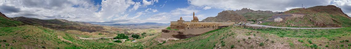 Aerial view of Ishak Pasha Palace is a semi-ruined palace and administrative complex located in the Dogubeyazit, Agri. Turkey. Aerial view of Ishak Pasha Palace stock photography