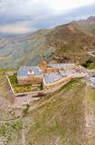 Aerial view of Ishak Pasha Palace is a semi-ruined palace and administrative complex located in the Dogubeyazit, Agri. Turkey. Aerial view of Ishak Pasha Palace royalty free stock photos