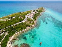 An aerial view of Isla Mujeres in Cancun, Mexico Royalty Free Stock Images