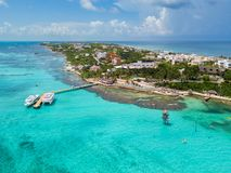 An aerial view of Isla Mujeres in Cancun, Mexico Stock Image