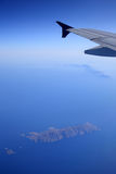 Aerial View of Island in Aegean Sea. Aerial view of island in navy blue Aegean Sea Royalty Free Stock Images