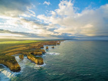Aerial view of the Island Archway and rugged coastline at sunris Royalty Free Stock Images