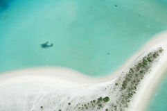 Aerial view of an island beach royalty free stock images
