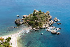 Aerial view of island and beach in Taormina, Sicily, Italy Royalty Free Stock Image