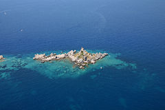 Aerial view of the island with a chapel Royalty Free Stock Image