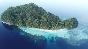 Aerial View of Island and Coral Reef in Raja Ampat. A rugged limestone island is surround healthy coral reef in Raja Ampat, Indonesia. This unique, equatorial stock video
