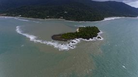 Aerial view of a Island of the cost of Koh Chang, Thailand. Aerial view of a beautiful Island covered in trees of the cost of Koh Chang, Thailand stock image