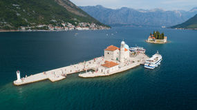 Aerial view of the island of Gospa od Skrpjela, Montenegro. Royalty Free Stock Photos