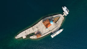 Aerial view of the island of Gospa od Skrpjela, Montenegro. Royalty Free Stock Image