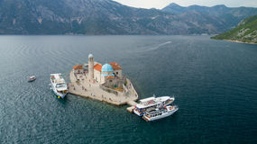 Aerial view of the island of Gospa od Skrpjela, Montenegro. Stock Images