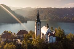 Aerial view of island of lake Bled, Slovenia. royalty free stock photos