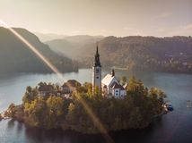Aerial view of island of lake Bled, Slovenia. stock photography