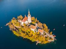 Aerial view of island of lake Bled, Slovenia. stock photos