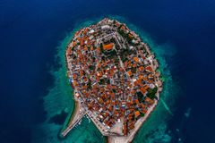 Aerial view of island Primošten, Croatia royalty free stock images