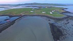 Aerial view of Island Roy and bridge by Downings stock video footage