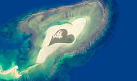 Aerial view of an island in the shape of a heart Royalty Free Stock Image