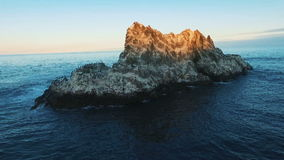 Aerial view. Island at sunset. Circling around the camera. Migratory birds. stock video footage