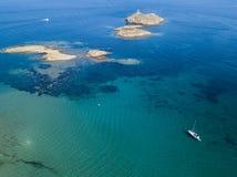 Aerial view of the islands of Finocchiarola, Mezzana, A Terra, Peninsula of Cap Corse, Corsica, France. Tyrrhenian Sea. Sailboats. Aerial view of the islands of royalty free stock photos