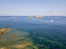 Aerial view of the islands of Finocchiarola, Mezzana, A Terra, Peninsula of Cap Corse, Corsica, France. Tyrrhenian Sea. Sailboats. Aerial view of the islands of stock photography