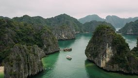 Aerial view of islands in Halong Bay, Vietnam stock image